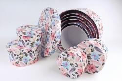 Набор подарочных коробок из 10шт-  КРУГ Цветы и перья  33*33*17см  К770