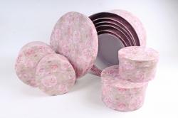 Набор подарочных коробок из 10шт-  КРУГ Розы розовые  33*33*17см  К770