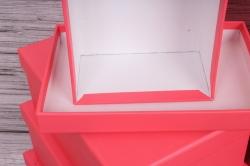 Набор подарочных коробок из 10шт-  Прямоугольник однотонный коралл  37*28*13см  К845