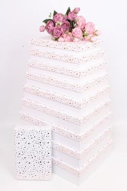 Набор подарочных коробок из 10шт-  Прямоугольник плоский крапинка золото белый 46*36*10см К429