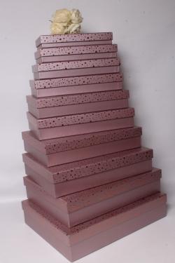Набор подарочных коробок из 10шт-  Прямоугольник плоский крапинка золото лиловый 46*36*10см К551