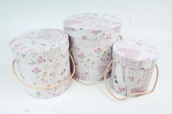 """Набор подарочных коробок из3шт - Цилиндр """"Цветочки"""" ,  розовый 0100 (Н)"""