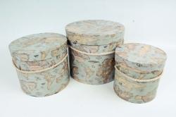 """Набор подарочных коробок из3шт - Цилиндр """"Глобус"""", ,  серый 0155 (Н)"""