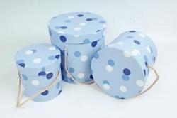 """Набор подарочных коробок из3шт - Цилиндр """"Горох"""" , сиреневый 0032 (Н)"""