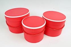 """Набор подарочных коробок из3шт - Цилиндр """"Кант"""" ,  красный 9760 (Н)"""