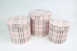 Набор подарочных коробок из3шт - Цилиндр,  розовый 9951 (Н)