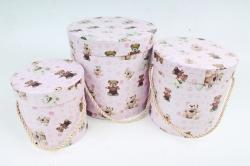 """Набор подарочных коробок из3шт - Цилиндр """"Мишки"""" , розовый 0056 (Н)"""