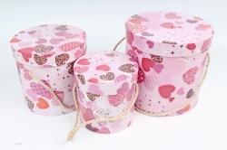 """Набор подарочных коробок из3шт - Цилиндр """"Сердечки"""" ,  розовый 0087 (Н)"""