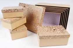 Набор подарочных коробок из10шт - Прямоугольник крафт тиснение звезды золото   К420
