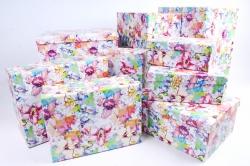 """Набор подарочных коробок из10шт -  """"Прямоугольник """" Цветы контурныеК312"""