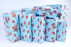 """Набор подарочных коробок из10шт -  """"Прямоугольник """" Розы на голубом К214"""