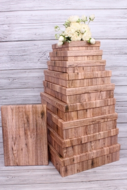 Набор подарочных коробок из10шт -  Прямоугольник плоский  Дерево  45*36*10см К253