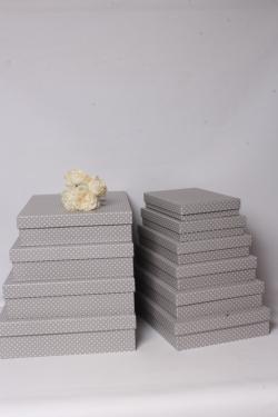 Набор подарочных коробок из10шт -  Прямоугольник плоский  Горошек на сером  45*36*10см К550
