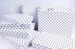 Набор подарочных коробок из10шт -  Прямоугольник плоский  Клетка точка на белом  К320