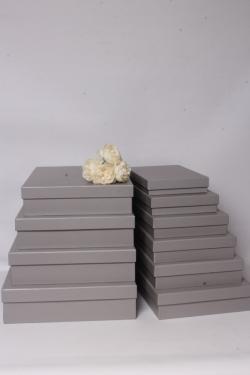 Набор подарочных коробок из10шт -  Прямоугольник плоский  серый  45*36*10см К549