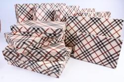 Набор подарочных коробок из10шт -  Прямоугольник плоский  Шотландка К320