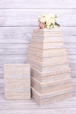 Набор подарочных коробок из10шт -  Прямоугольник плоский  Травертин  45*36*10см К253