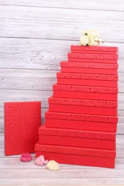 Набор подарочных коробок из10шт -  Прямоугольник плоский  Золотая точка на красном  45*36*10см К243