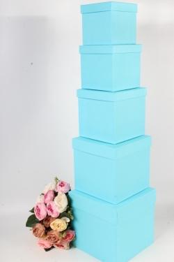 Набор подарочных коробок набор из 5шт - Куб №2  Голубой  21см*21см*21см Пин02-Гол