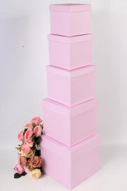 Набор подарочных коробок набор из 5шт - Куб №2  Розовый  21см*21см*21см Пин02-Роз