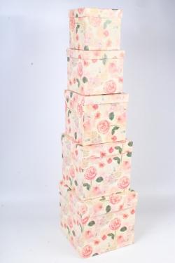 Набор подарочных коробок набор из 5шт - Куб №2  Розы оранжевые  21см*21см*21см Пин02-ОР