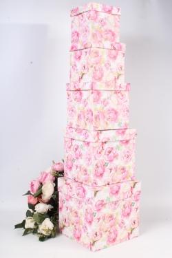 Набор подарочных коробок набор из 5шт - Куб №2  Розы розовые  21см*21см*21см Пин02-РР