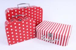 Набор подарочных коробок  из 3 шт - Чемоданчик красный белый горох     W9846  (М)