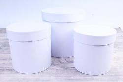 Набор подарочных коробок  из 3 шт - Цилиндр Белый   №150     Пин150Бел
