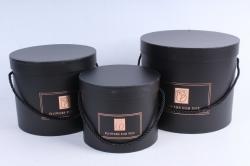 Набор подарочных коробок  из 3 шт - Цилиндр чёрный