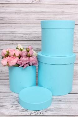 Набор подарочных коробок  из 3 шт - Цилиндр Голубой  №150   20*20см  Пин150Гол