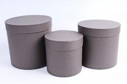 Набор подарочных коробок  из 3 шт - Цилиндр Какао   №150    Пин150КК