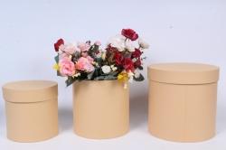 Набор подарочных коробок  из 3 шт - Цилиндр Карамель   №150   20*20см  Пин150Кар
