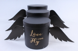 Набор подарочных коробок  из 3 шт - Цилиндр Love Fly can чёрный