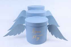Набор подарочных коробок  из 3 шт - Цилиндр Love Fly can голубой