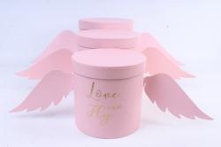 Набор подарочных коробок  из 3 шт - Цилиндр Love Fly can розовый