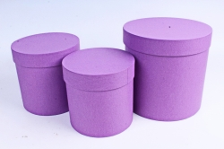 Набор подарочных коробок  из 3 шт - Цилиндр Пурпурный холст   №150    Пин150ПХ