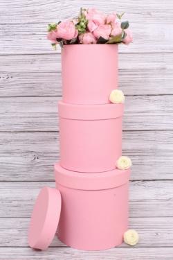 Набор подарочных коробок  из 3 шт - Цилиндр Розовый  №150   20*20см  Пин150Роз