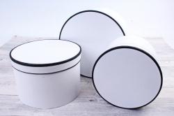 Набор подарочных коробок  из 3 шт - Цилиндр с блёстками белый  R20