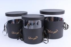 Набор подарочных коробок  из 3 шт - Цилиндр с блёстками чёрный