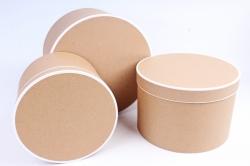 Набор подарочных коробок  из 3 шт - Цилиндр с блёстками крафт  R20