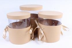Набор подарочных коробок  из 3 шт - Цилиндр с прозрачной вставкой крафт