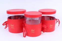 Набор подарочных коробок  из 3 шт - Цилиндр с прозрачной вставкой красный