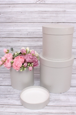 Набор подарочных коробок  из 3 шт - Цилиндр Серебро   №150   20*20см  Пин150СР