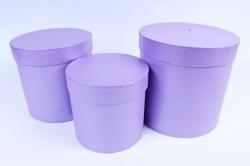 Набор подарочных коробок  из 3 шт - Цилиндр Сиреневый Перламутр  №150    Пин150СирП