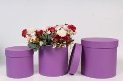 Набор подарочных коробок  из 3 шт - Цилиндр Сиреневый  №150   20*20см  Пин150Сир
