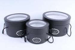 Набор подарочных коробок  из 3 шт - Цилиндр тиснёный с окном чёрный