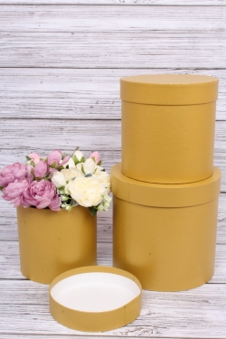 Набор подарочных коробок  из 3 шт - Цилиндр Золотой  №150   20*20см  Пин150Зол