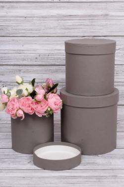 Набор подарочных коробок  из 3 шт - Цилиндр  Серый  №150   20*20см  Пин150Сер