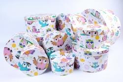 Набор подарочных коробок  из 10 шт - КРУГ  Совы SY813-1386