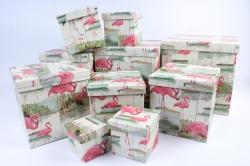 """Набор подарочных коробок  из 10 шт - КУБ """"Фламинго"""" новый  SY601-1280"""